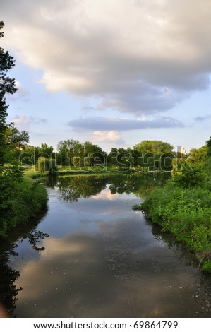 Forest Park Stream Reflections - stock photo