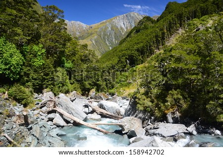 Forest River and Mountains, New Zealand - stock photo