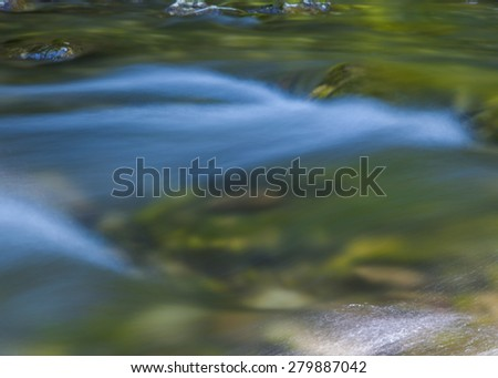 Forest stream,Beautiful motion blurred water stream landscape - stock photo