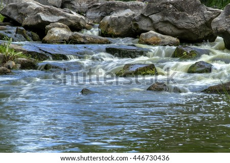 forest stream, Stream Water and Green Mossy Rocks, Moss On The Rocks Forest Stream, Forest river, Water runs quickly through the rapids, Granite boulders with river - stock photo