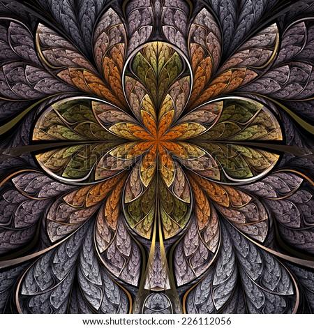 Forest themed fractal flower, digital artwork for creative graphic design - stock photo