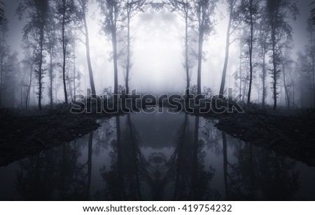 forest trees reflecting in water - stock photo