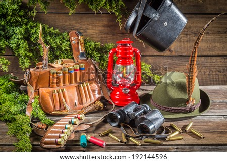 Forester lodge full of hunting equipment - stock photo