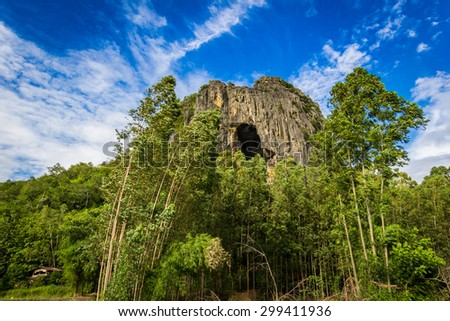 Forests, mountains, sky - stock photo