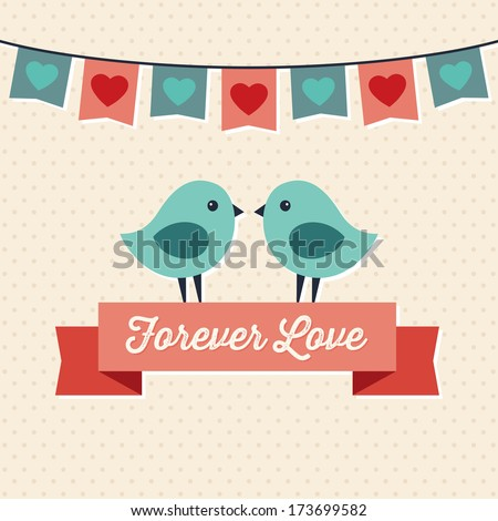 Forever Love illustration with two cute love birds and ribbon banner. Great for Valentine's Day, greeting card, wedding, engagement, poster, menu, party invitation, social media, web banner. - stock photo