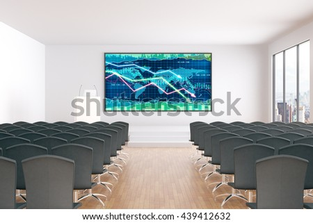 Forex chart with downward trend on board hanging in conference hall interior. 3D Rendering - stock photo