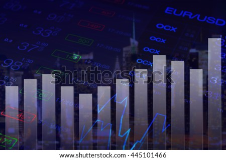 Forex finance abstract black background. Abstract chart at background of financial numbers and Forex graph. Financial city New York at background. Finance business collage. Forex market, Eur Usd chart