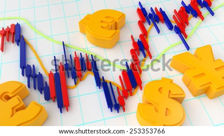 Forex Market Chart - stock photo