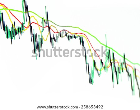Forex stock market candle graph analysis on white - stock photo