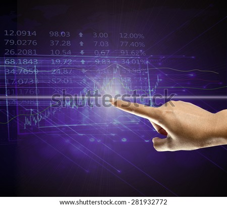 Forex trading concept - businessman pressing button on virtual screens  - stock photo