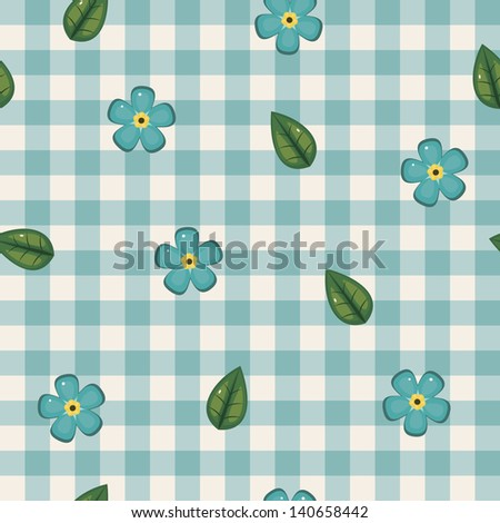 Forget-me-not seamless checkered wallpaper - stock photo