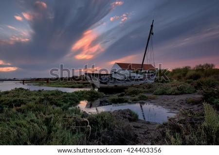 forgotten in the estuary , Ria Formosa, Olhao, Algarve, Portugal - stock photo