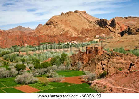 Forgotten Kasbah near Ouarzazate, Atlas Mountains in Morocco - stock photo