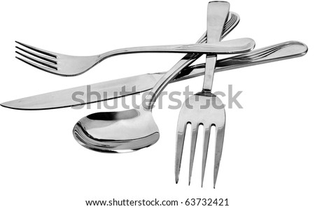 fork and knife and spoon - stock photo
