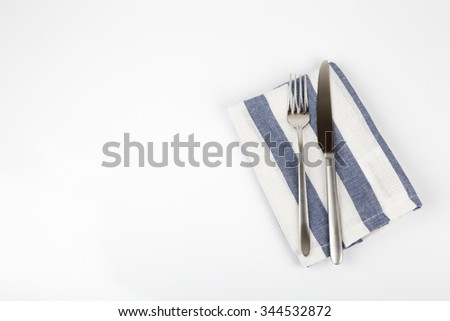 Fork and knife isolated - stock photo