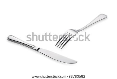 fork and knife isolated on white background - stock photo