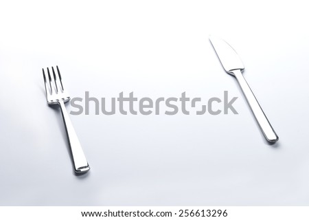 Fork and knife  on white background
