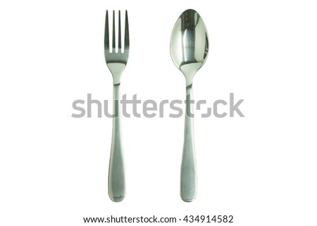 Fork and Spoon in white background.