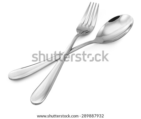 fork and spoon  isolated on white,  file includes a excellent clipping path - stock photo