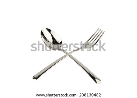 fork and spoon isplated over white background - stock photo
