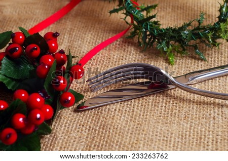 fork and spoon on christmas