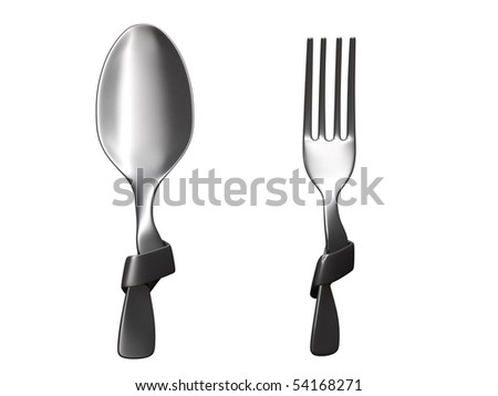 fork and spoon tied in a knot