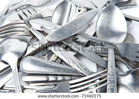 Fork and Spoon with knife - stock photo