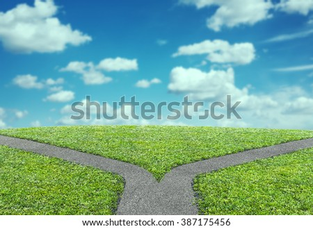 fork at road concept - stock photo