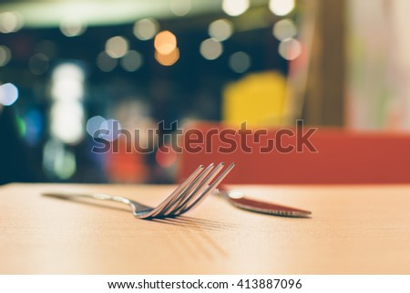 fork in food store vintage - stock photo