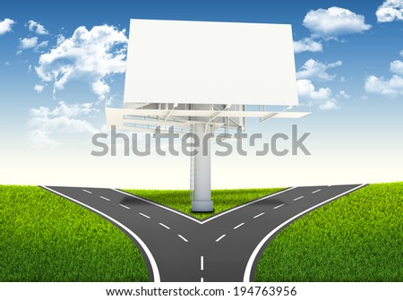Fork in the road. Decision-making framework. Large blank billboard - stock photo