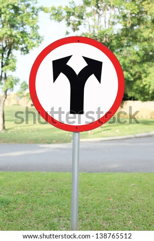 Fork in the road sign, vector illustration - stock photo