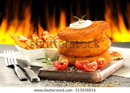 fork knife and food  - stock photo