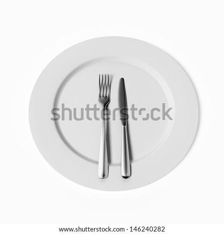 Fork, knife and plate - stock photo