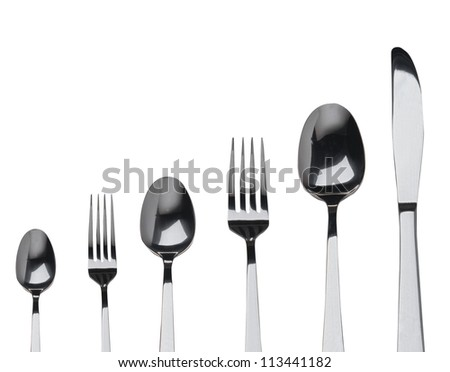 fork ,knife and spoon on a white background - stock photo