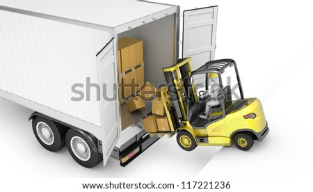 Fork lift truck falling from unsecured semi trailer, isolated on white background - stock photo