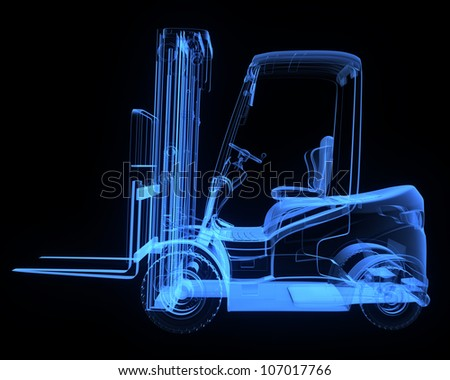 Fork lift truck, side view,  x-ray version - stock photo
