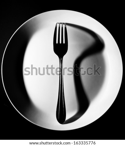 Fork on a white plate. Abstract elegant food restaurant concept. Black and white - stock photo