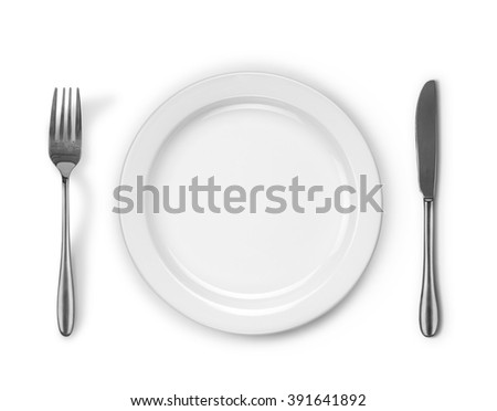 fork plate knife isolated on white background - stock photo