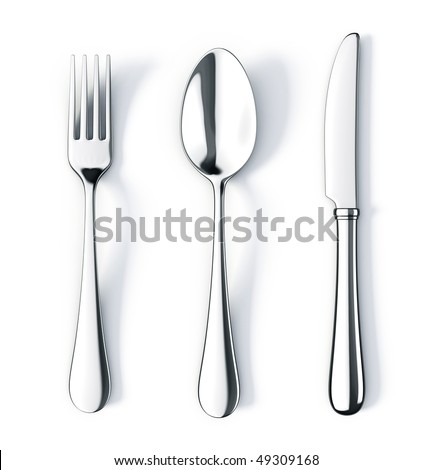 Fork spoon and knife isolated on white background - stock photo