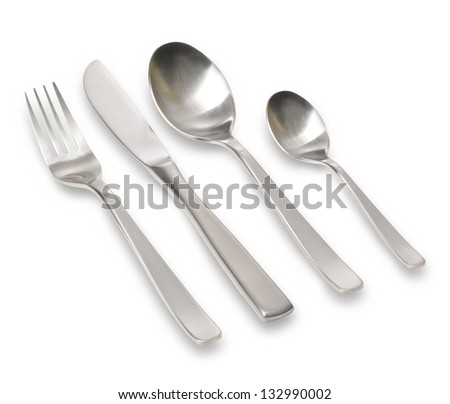 Fork spoon and knife isolated on white background. keeping path - stock photo
