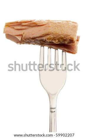 fork with tuna - stock photo