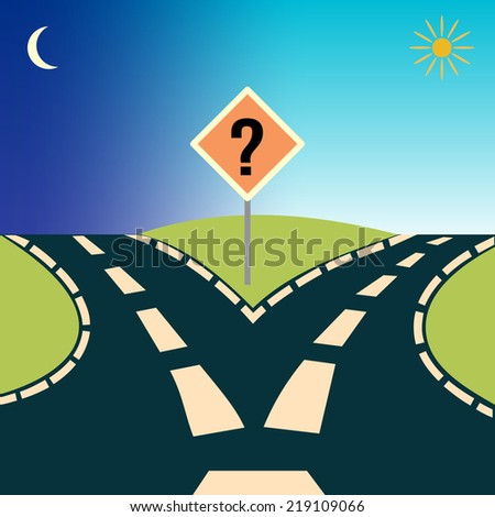 Forked Road, depicting the concept: choices or choosing - stock photo