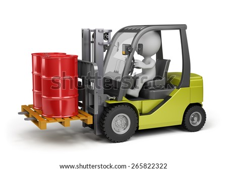 Forklift carrying barrels. 3d image. White background. - stock photo