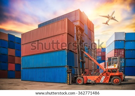 forklift handling container box loading for logistic concept  - stock photo