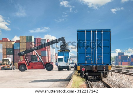 Forklift handling container box loading to freight train use for train cargo import, export, logistics background. - stock photo
