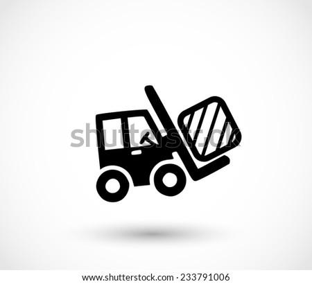Forklift icon - stock photo