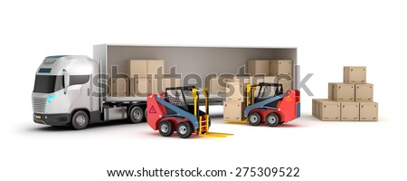 Forklift is loading the truck - stock photo