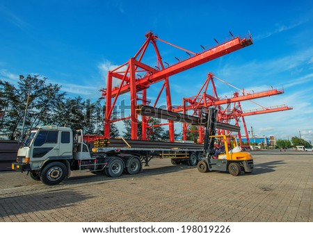 Forklift loader for warehouse works outdoors loading  - stock photo