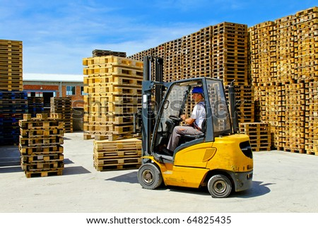 Forklift Operator Handling Wooden Pallets Warehouse Stock Photo ...