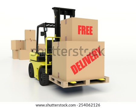 Forklift truck carrying boxes with Free Delivery inscription. - stock photo